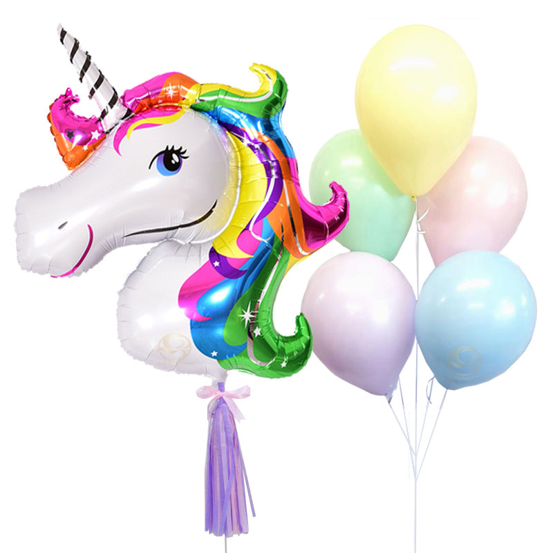 Rainbow Unicorn Latex Balloon Bunch
