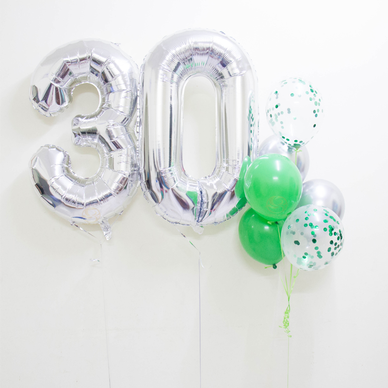 Crystal Number Balloon Bunch